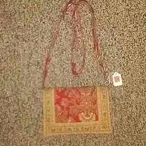 VB red paisley shoulder bag